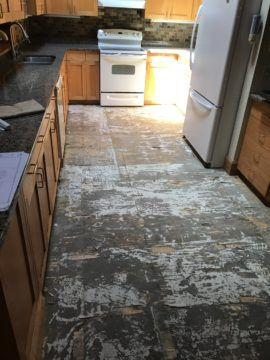 Kitchen flooring taken up
