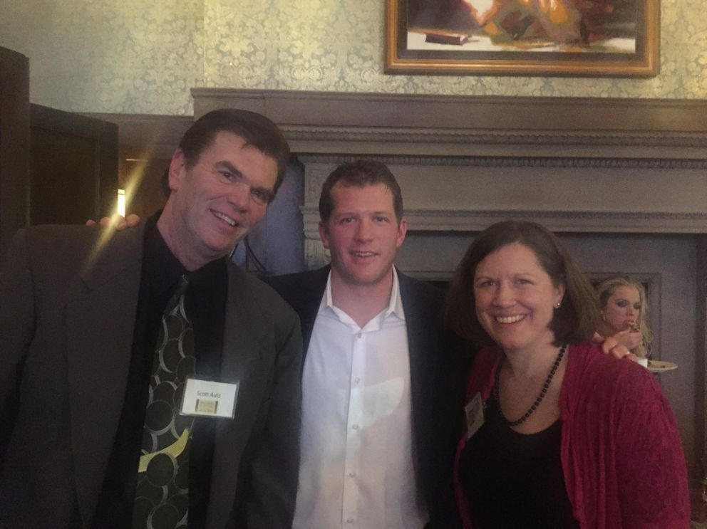 L-R: Scott Auld, Crescent Cove supporter, Minnesota Wild player Ryan Suter, and Katie Lindenfelser